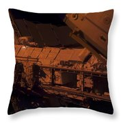 In The Darkness Of Space, An Astronaut Throw Pillow by Stocktrek Images