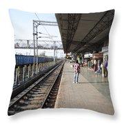 Indian Railway Station Throw Pillow by Sumit Mehndiratta
