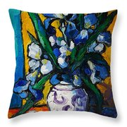 Irises Throw Pillow by Mona Edulesco