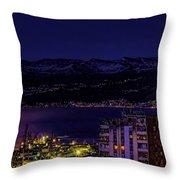 Istrian Riviera At Night Throw Pillow by Jasna Buncic