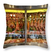 Italian Market Butcher Shop Throw Pillow by John Greim