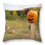 Jack O'lantern Throw Pillow by Linda Mishler