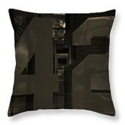Jackie Robinson 42 In Sepia Throw Pillow by Rob Hans