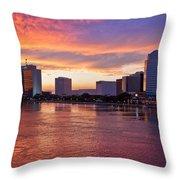 Jacksonville Skyline At Dusk Throw Pillow by Debra and Dave Vanderlaan