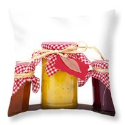 Jam Jelly And Pickle Throw Pillow by Jane Rix