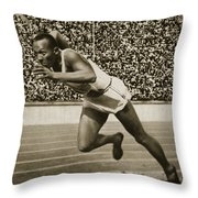 Jesse Owens Throw Pillow by American School