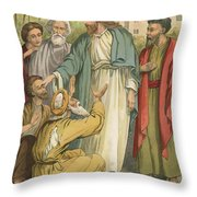 Jesus And The Blind Men Throw Pillow by English School