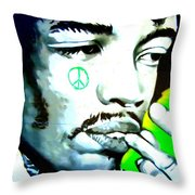 Jimi Hendrix Throw Pillow by Randall Weidner