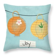 Joy Lanterns Throw Pillow by Linda Woods