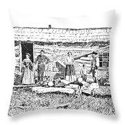 Kansas: Early House, 1854 Throw Pillow by Granger