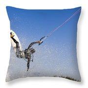 Kitesurfing Throw Pillow by Hagai Nativ