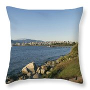 Kitsilano Beach And Vancouver Skyline Throw Pillow by Michael S. Lewis