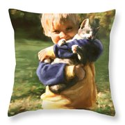Kitty Love Throw Pillow by Barbara Hymer
