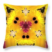 Kitty Petals Throw Pillow by Cheryl Young