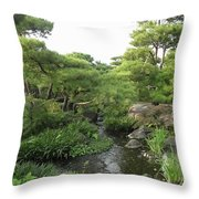 Kokoen Samurai Gardens - Himeji City Japan Throw Pillow by Daniel Hagerman
