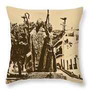 La Rogativa Sculpture Old San Juan Puerto Rico Rustic Throw Pillow by Shawn O'Brien