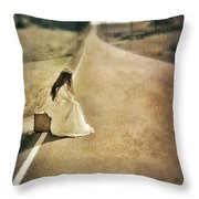 Lady in Gown Sitting by Road on Suitcase Throw Pillow by Jill Battaglia