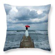 Lady On Dock In Storm Throw Pillow by Jill Battaglia