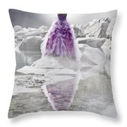 Lady On The Rocks Throw Pillow by Joana Kruse