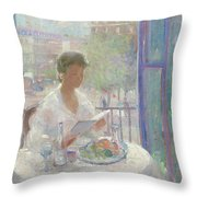 Lady Reading At An Open Window  Throw Pillow by Clementine Helene Dufau