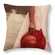 Lady With Hat Throw Pillow by Joana Kruse