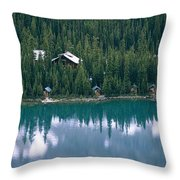 Lake Ohara Lodge And Cabins Throw Pillow by Michael Melford