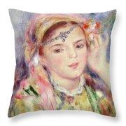L'Algerienne Throw Pillow by Pierre Auguste Renoir