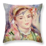 L'algerienne Throw Pillow by Pierre Auguste Renoir