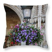 Lamp And Lace At The Grand Place Throw Pillow by Carol Groenen