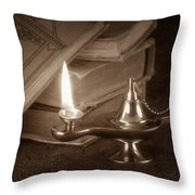 Lamp of Learning Throw Pillow by Tom Mc Nemar