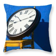 Large Clock On Yellow Chair Throw Pillow by Garry Gay