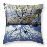 Large Tree And Tobogganers Throw Pillow by Andrew Macara