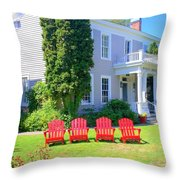 Lawn Chairs Throw Pillow by Randall Weidner