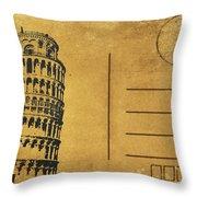 Leaning Tower Of Pisa Postcard Throw Pillow by Setsiri Silapasuwanchai