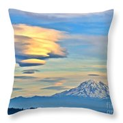 Lenticular Cloud And Mount Rainier Throw Pillow by Sean Griffin