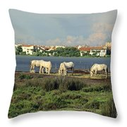 Les Saintes Marie De La Mer. Camargue. Provence. Throw Pillow by Bernard Jaubert