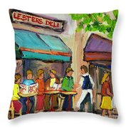 Lester's Deli Montreal Cafe Summer Scene Throw Pillow by Carole Spandau