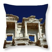 Library Of Celsus In Ephesus Throw Pillow by Sally Weigand