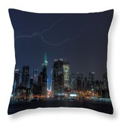 Lightning Over New York City Ix Throw Pillow by Clarence Holmes