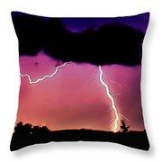 Lightning Over The Plains II Throw Pillow by Ellen Heaverlo