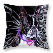 lil Angels Boston Terrier Throw Pillow by Tisha McGee