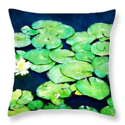 Lily Pads And Lotus Throw Pillow by Tammy Wetzel