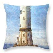 Lindau Lighthouse In Germany Throw Pillow by Nikki Marie Smith