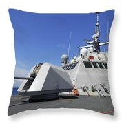 Littoral Combat Ship Uss Freedom Throw Pillow by Stocktrek Images