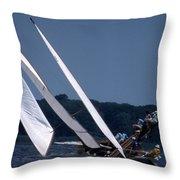Log Canoe Race Throw Pillow by Skip Willits