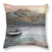 Lone Fisherman Throw Pillow by Arline Wagner