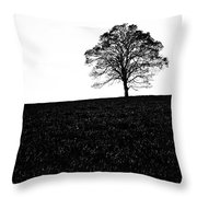 Lone Tree Black And White Silhouette Throw Pillow by John Farnan