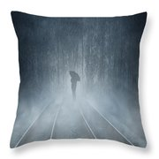 Lonely Figure Throw Pillow by Svetlana Sewell