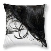 Long dark hair of a woman on white pillow Throw Pillow by Matthias Hauser