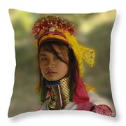 Long Neck Beauty Karen Tribe Throw Pillow by Bob Christopher